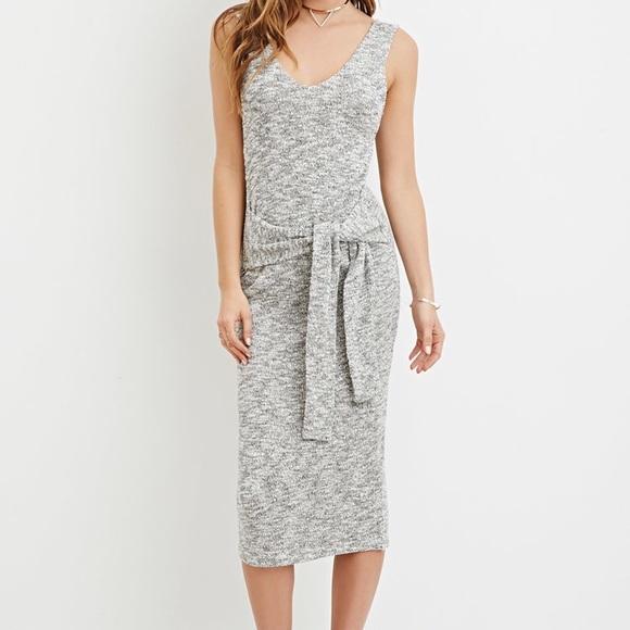 98e6dd4eea5d F21 Tie-waist Marled midi dress